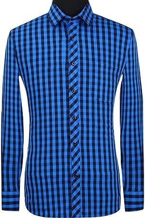 YAYLMKNA Camisa Camisa De Tela Escocesa Casual De Hombre ...