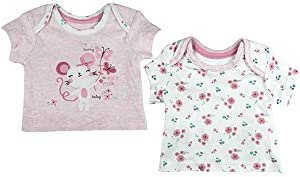 Girls Pack of 3 Candy Stripe Zoo Animals T-Shirt Tops Sizes from Tiny Prem Baby to 24 Months