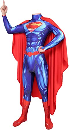 Bloibfs Justice League Superman Costumehalloween Cosplay Déguisement 3d Imprimer Haute élasticité Bodysuitblue L