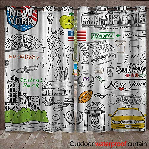 BlountDecor American Outdoor Blackout Curtain New York City Culture Metropolitan Museum Broadway Crossroad Wall Street Sketch StyleW120 x L108 White