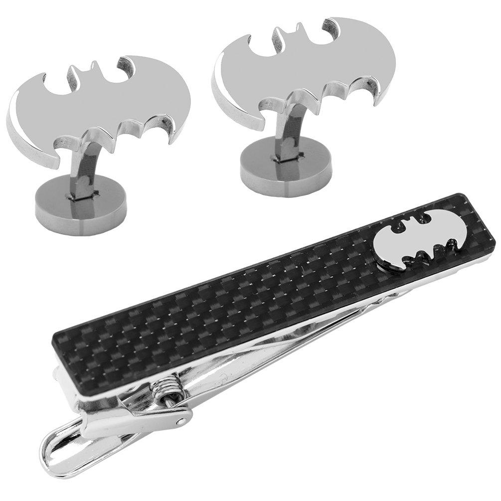 DC Comics Batman Cufflinks and Carbon Fiber Tie Clip Gift Set, Officially Licensed