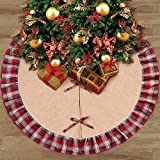AerWo Burlap Christmas Tree Skirt 48inch Black Red Plaid Ruffle Edge Border Tree Skirt Xmas Party Holiday Decorations
