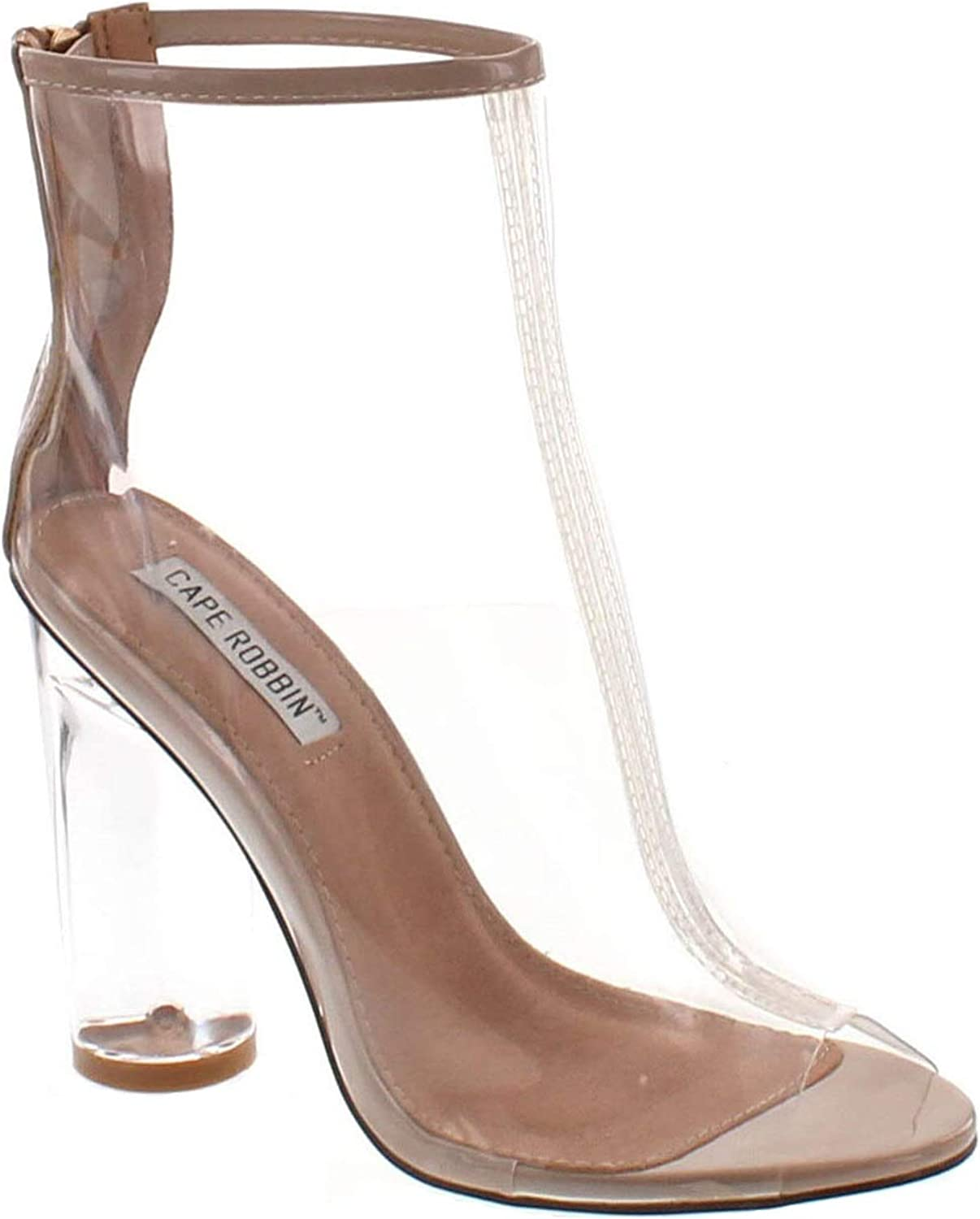 Womens Perspex Peep Toe Ankle Boots
