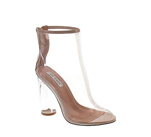 dd902e97dcc CAPE ROBBIN Benny-1 Womens Perspex Peep Toe Ankle Boots