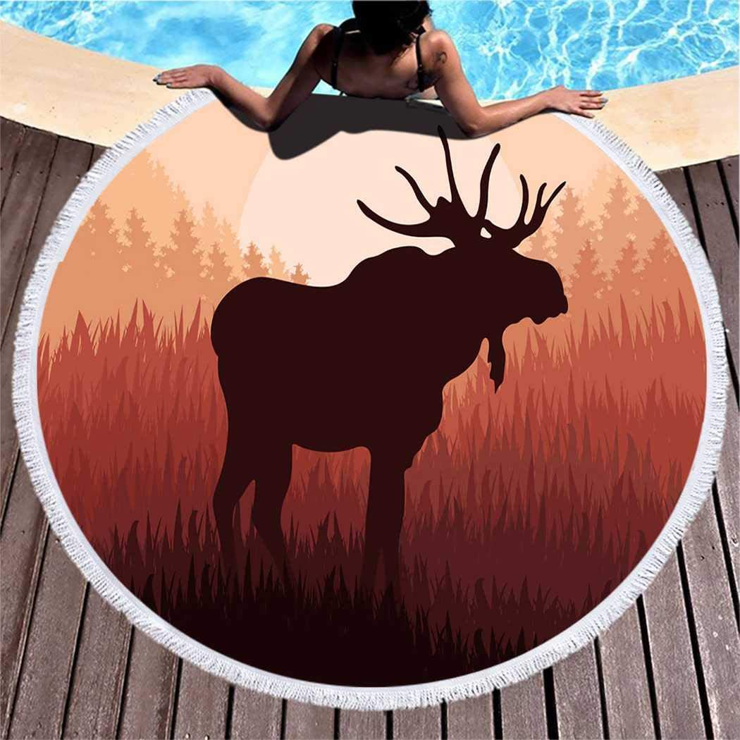 Kuidf Bird Round Beach Towel Blanket, Moose in Wild Nature Landscape Brown Microfiber Beach Towel, Lightweight Picnic Carpet Towel for Kids Women Men, 150 Inches