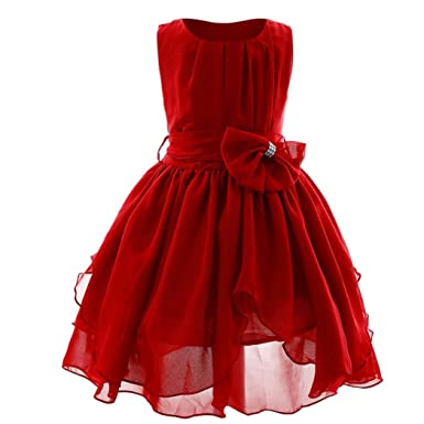 Zerototens Girls Party Flower Dress,Bowknot Kids Girl Dress Princess Formal Pageant Gown Party Bridesmaid