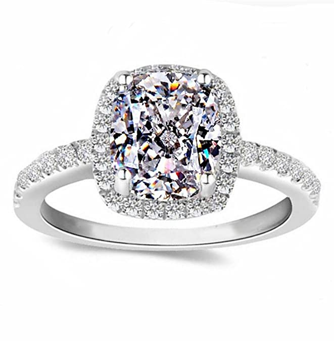 Review Diamonbella 101 Facets 2 Carat Emerald Cushion Cut NSCD Halo Simulated Diamond Ring Solid 925 Silver Platinum Plated Rectangular