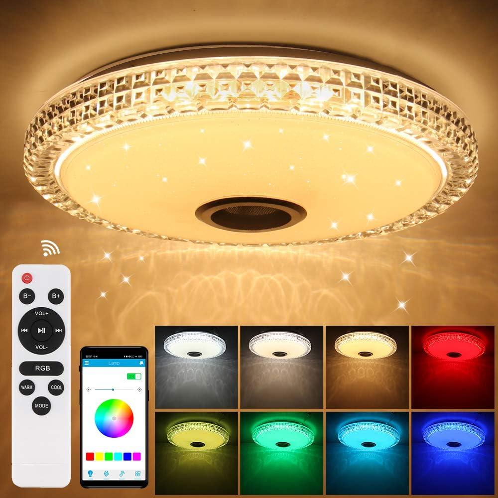 Prenine 72W LED Musik Deckenleuchte Dimmbar mit Bluetooth Lautsprecher und Speicherfunktion - LED Deckenleuchten Dimmbar