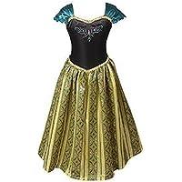 ELSA & ANNA® Filles Reine des Neiges Princesse Partie Costumée Déguisements Robe de Soirée FR-FBA-ANNA1 (4-5 Ans, FR-ANNA1)