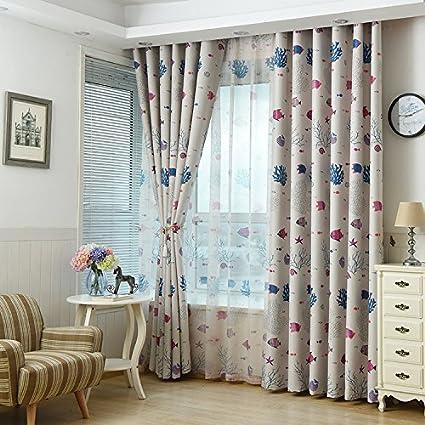 Blue Kids Room Curtain Cartoon ragazzi e ragazze camera da letto ...