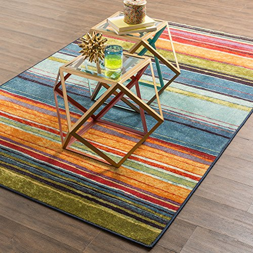 6' Large Area Rug (Mohawk Home New Wave Striped Printed Area Rug, 6'x9', Rainbow)