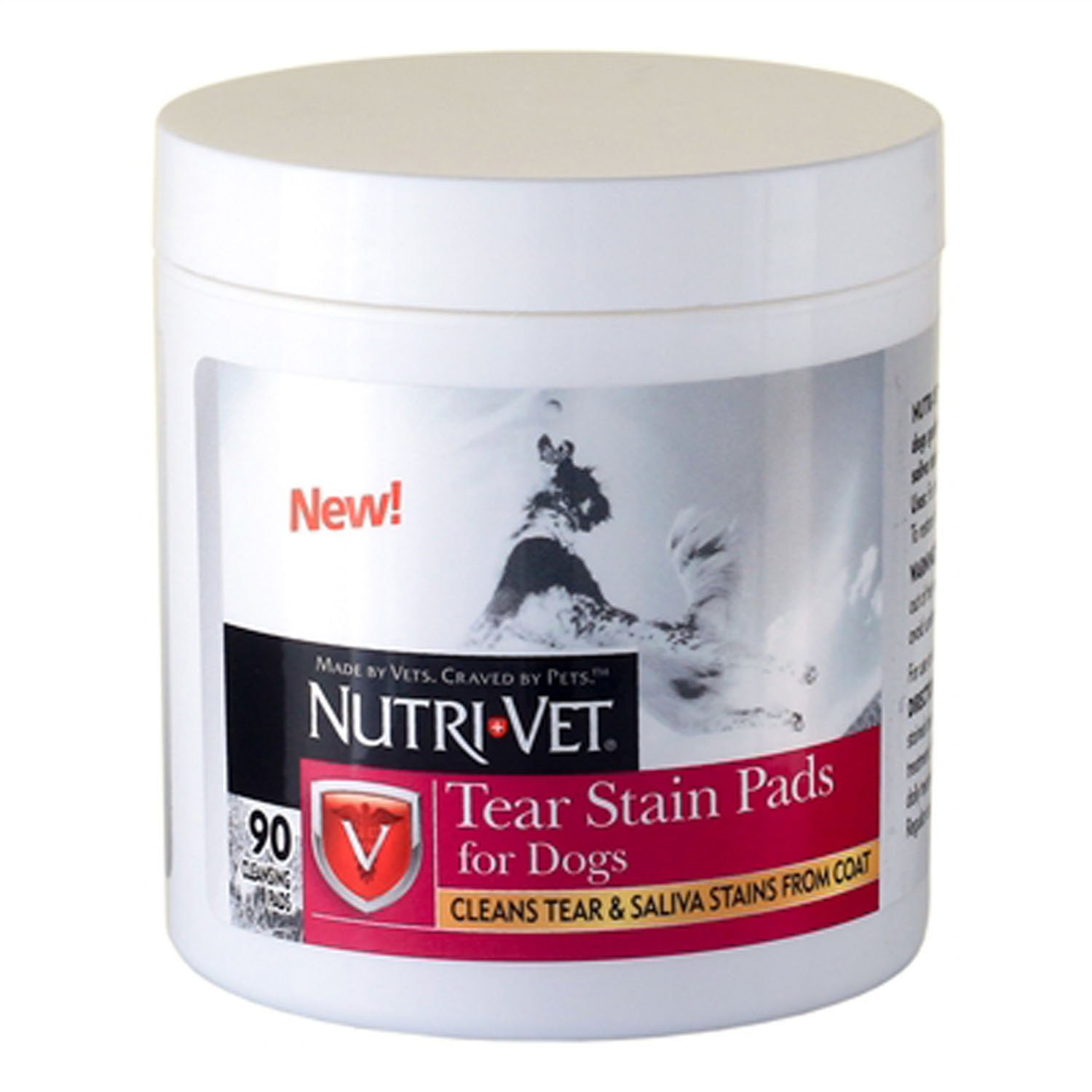 Nutri-Vet Dog Eye Wipes Tear Stain Remover Pads 90 Count Cleans Tear and Saliva Stains from Coat