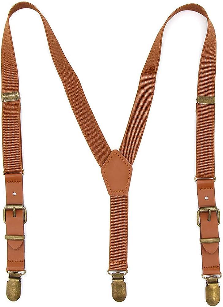 Suspenders SET 6 months Adult Kids Mens Baby Boys 1 inch Wide Dark Brown PU Leather Suspenders /& ORANGE bow tie Wedding Page Boy Groom Set