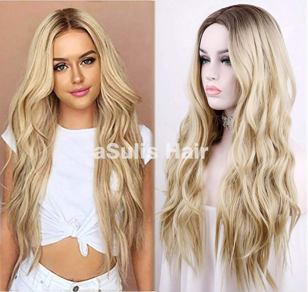 aSulis Natural Long Wavy Wig Dark Roots Ombre Blonde Wig Middle Parting Synthetic Replacement Wig 28'' (Blonde) by aSulis