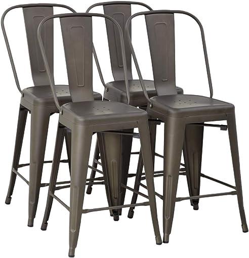 Metal Bar Stool Set of 4 Counter Height Barstool