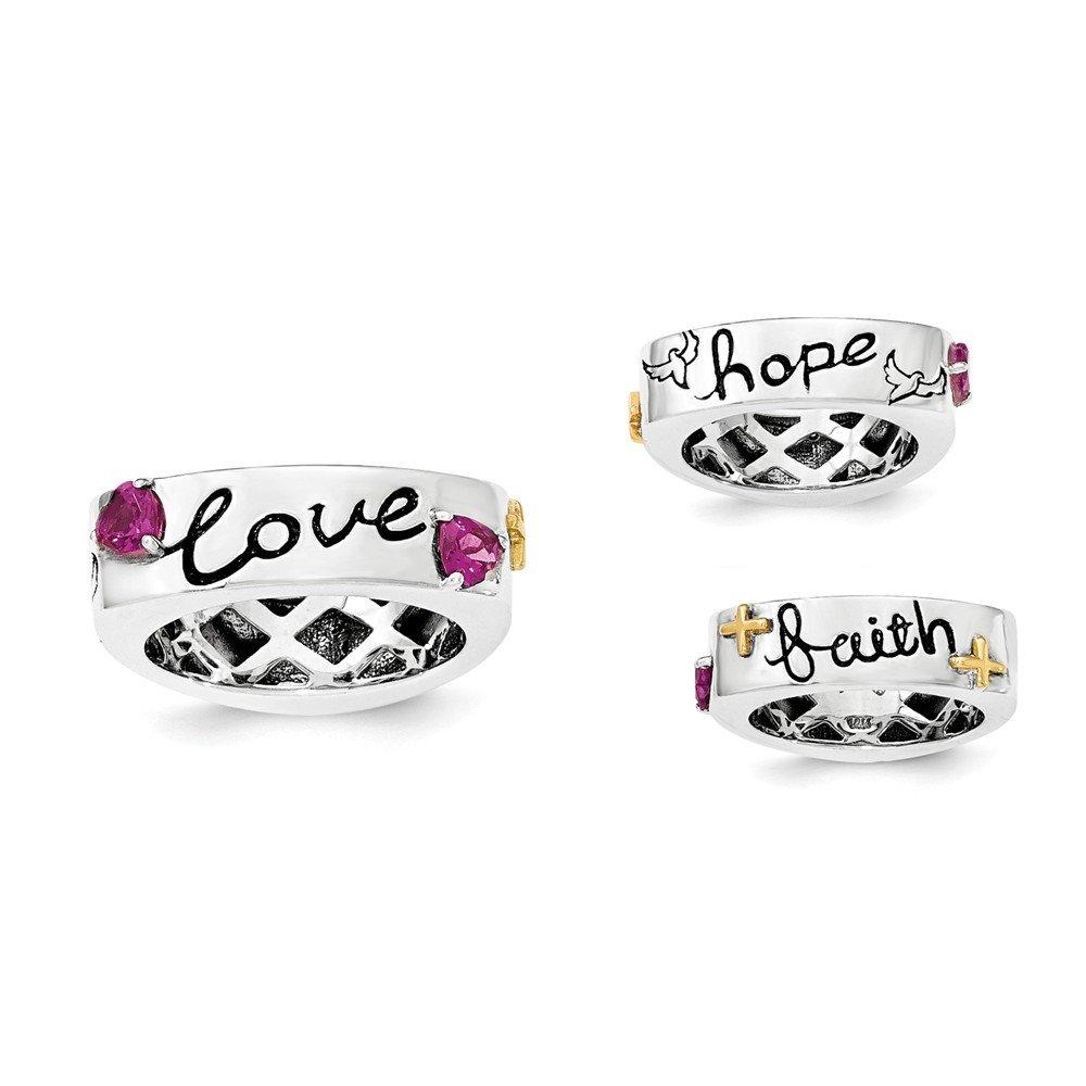 Top 10 Jewelry Gift Sterling Silver w/14k Rhodolite Garnet Faith Hope Love Ring