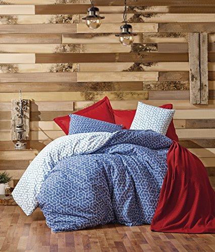 Dose Of Modern Pave - Claret Red Ranforce Single Bedspread Set 129CTN6136 - Claret Red Blue -