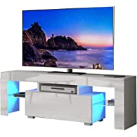 Dripex LED TV Stand - High Gloss Entire Front TV Cabinet - 130cm TV Entertainment Unit Bench Cabinet Cupboard for Living Room (White)