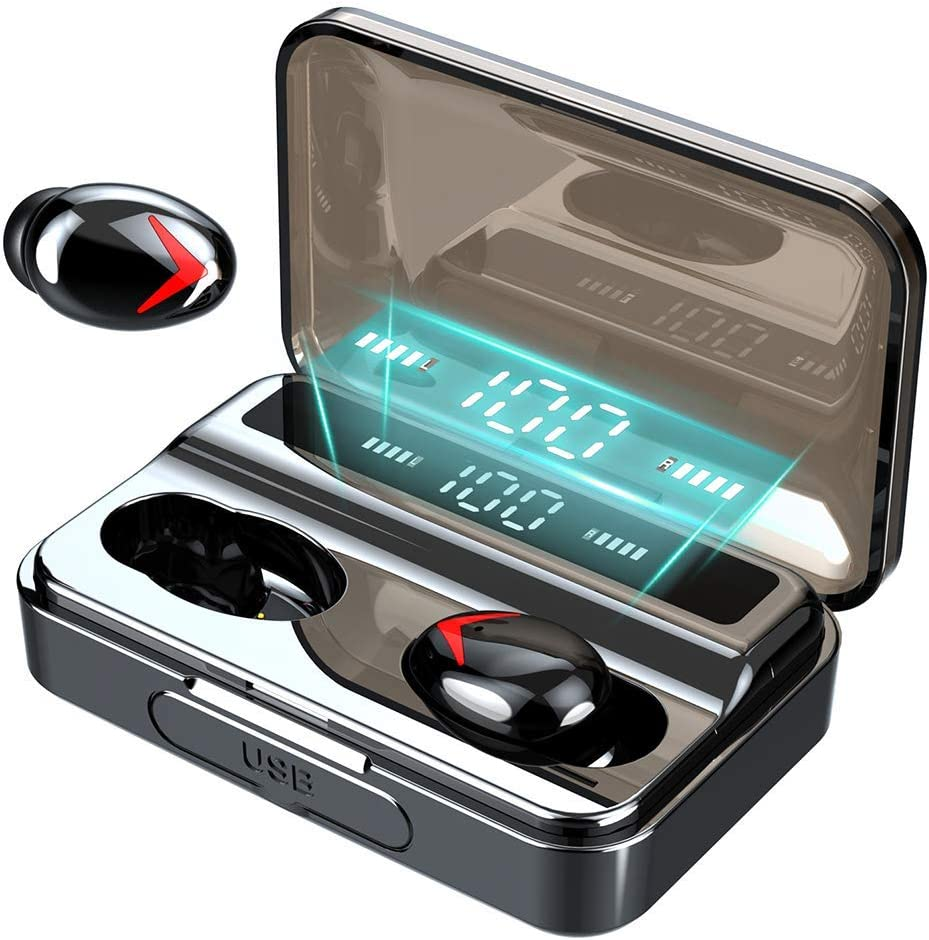 Wireless Earbuds, Bluetooth 5.0 Headphones IPX7 Waterproof Earbuds, 130 Playtime, in Ear Headphones with Microphone, HD Deep Bass, Wireless Earphones with Touch Control, Smart LCD Digital Display