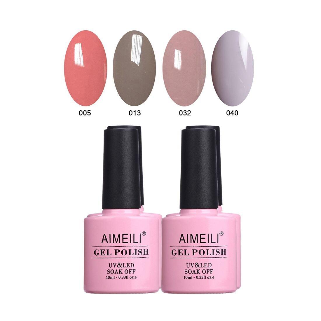 AIMEILI Esmalte Semipermanente Para Uñas Soak Off UV LED Uñas De Gel Kit de Manicura Color Combinado/Color De La Mezcla/Multicolur Set 4 X 10ml - Set 18