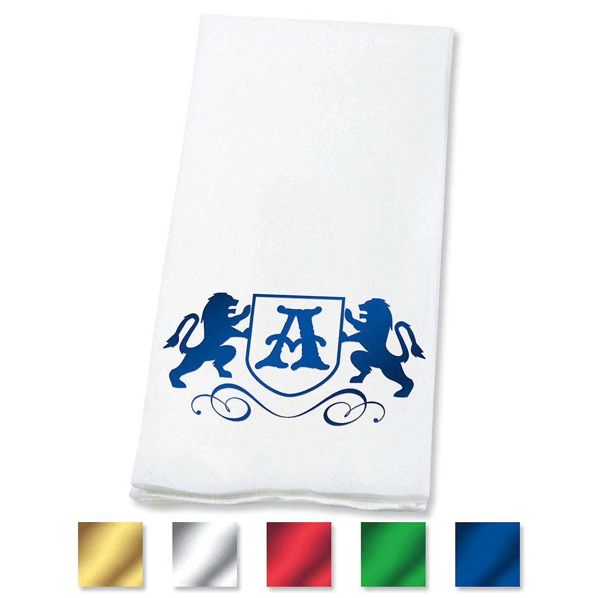 Lillian Vernon Lion Personalized Monogram Linen-Like Hand Towels (Set of 100)- 50% Cotton 50% Paper Blend, 13'' by 17'' Open and 4 1/2'' by 8 1/2'' Closed, Choose from 5 Colors, Weddings, Dinner Party