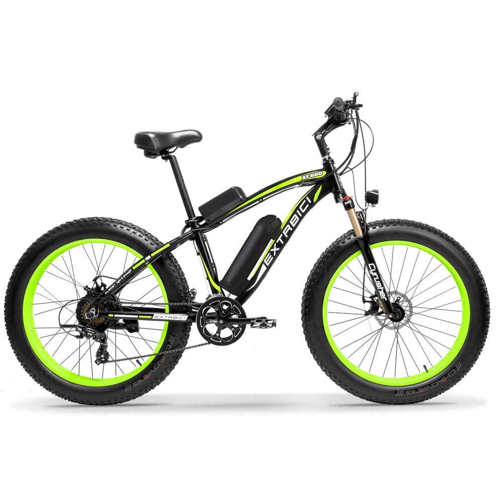 Green Extrbici XF6602 Mountain Bike Fat Tire Electric Bike 500W 48V 10A Mens Snow E Bike 26inch Bicycle Full Suspension Fork