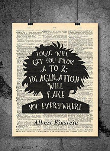 Albert Einstein Quote - Imagination - Vintage Dictionary Pri