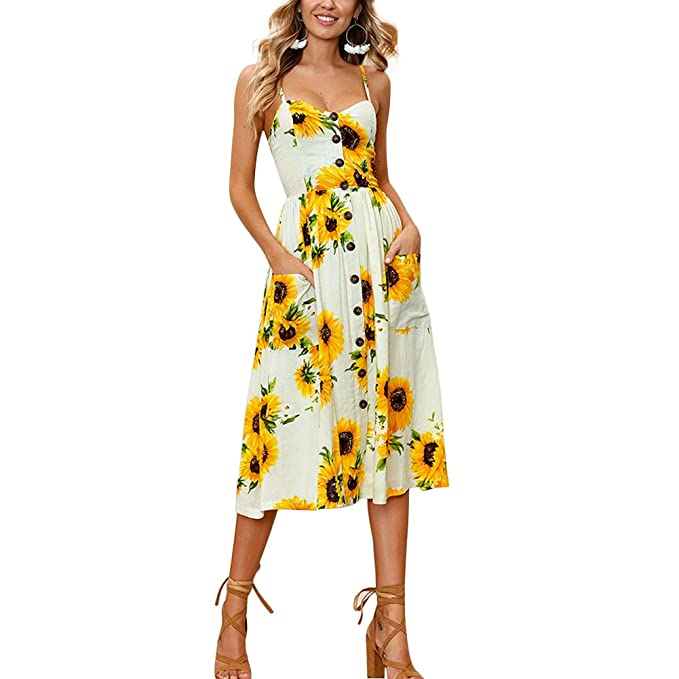 91fed60656f1 CHICFOR Womens Long Sundresses Summer Boho Floral Knee Length Button Down  Midi Swing Dress (Beige