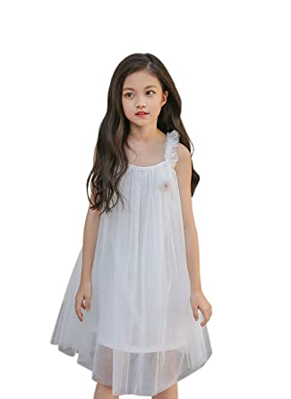 740b48b25e15 YueLian Little Girl s Tulle Lace Off Shoulder Sleeveless Dresses Summer  Party Outfits Short (5-