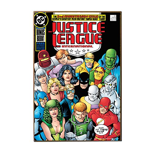Silver Buffalo DC6336 DC Comics Justice League International 2Nd Anniversary Wood Wall Art, 13x 19 inches