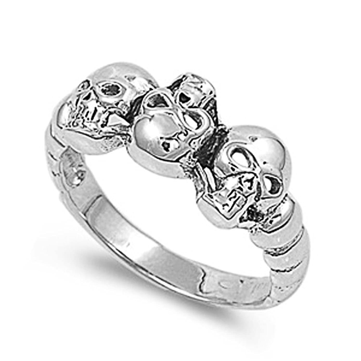 Sterling Silver Wedding Engagement Ring Skulls Wedding Band Ring