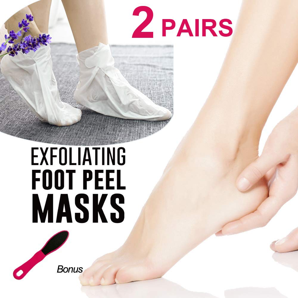 Exfoliating Foot Peeling Mask Booties-2 Pairs Lavender Scented Peel Booties for Callus Dead Skin, Exfoliating Foot Peeling Mask Removes Dead Skin, Repair Rough Heels for Men Women
