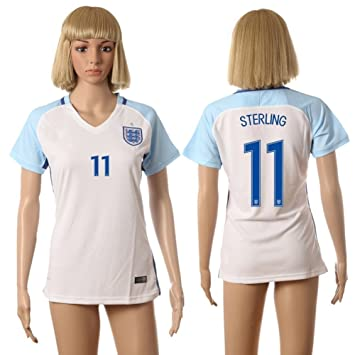 uds7d2g 2016 England Mujer Blanco Home Jersey de fútbol 11 Sterling, mujer, blanco,