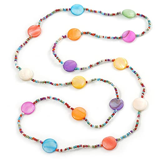 Avalaya Long Multicoloured Coin Shell Bead Necklace - 118cm L 7ax51T