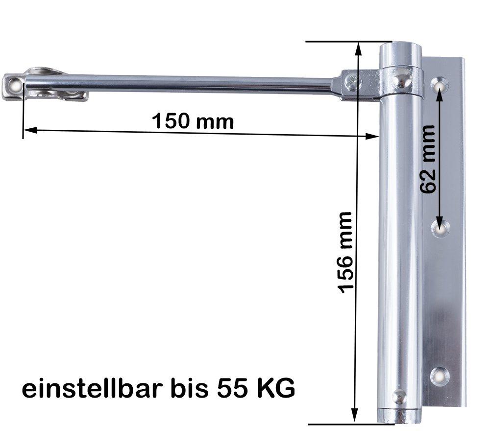 2 Stangent/ürschlie/ßer T/ürschlie/ßer Automatik T/ürfeder Schlie/ßkraft 75 KG Federschlie/ßer UNIVERSAL Wei/ß