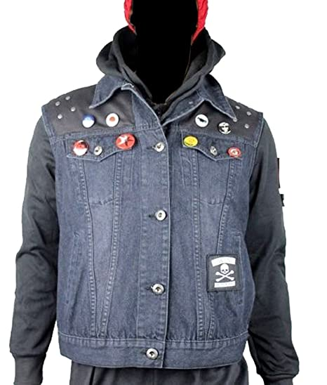 Infamous Second Son Vest and Pins Only Delsin Rowe Cosplay Denim Waistcoat (M)