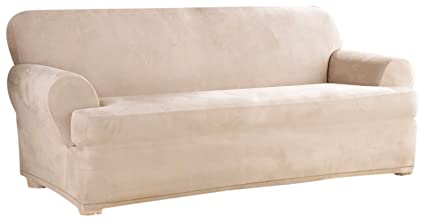 Sure Fit Stretch Suede Separate Seat T Cushion Sofa Slipcover   Sand  (SF35545)