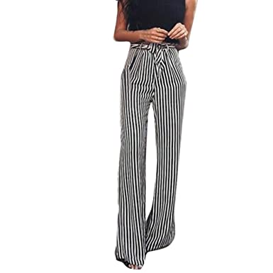 753d7170dcd57 Yukong Women s High Waist Stripe Flowy Wide Leg Comfy Ankle-Length Belted Palazzo  Pants Capris
