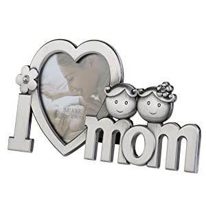TENDYCOCO Mother's Day Picture Frame Photo Prame Mother's Day Gift I Love You Mom Metal Heart Shape Table Top Display Mommy Birthday Christmas Gift
