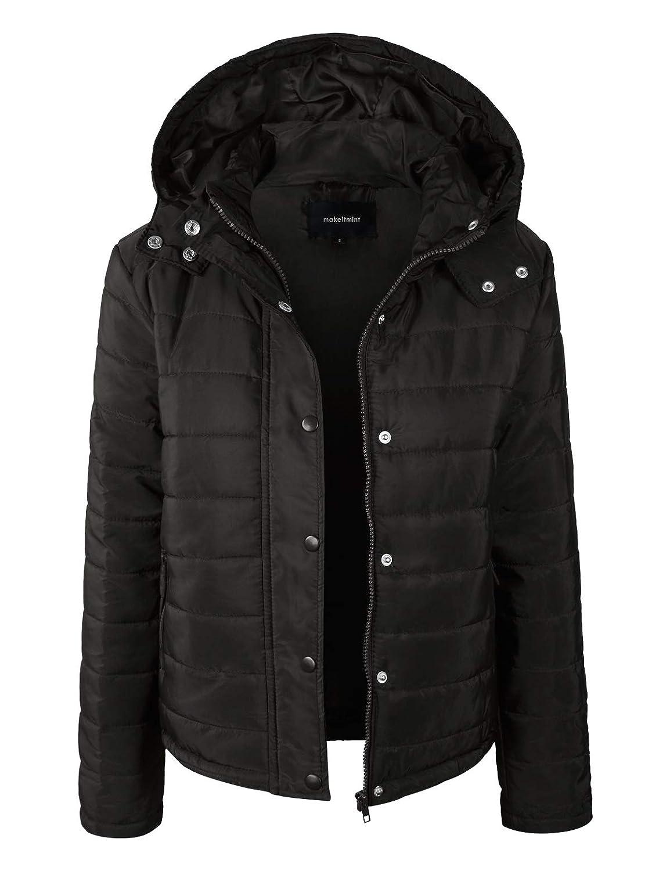 e5d7af127bd Amazon.com  makeitmint Women s Detachable Faux Fur Long Sleeve Padded Parka  Jacket w Hood  Clothing