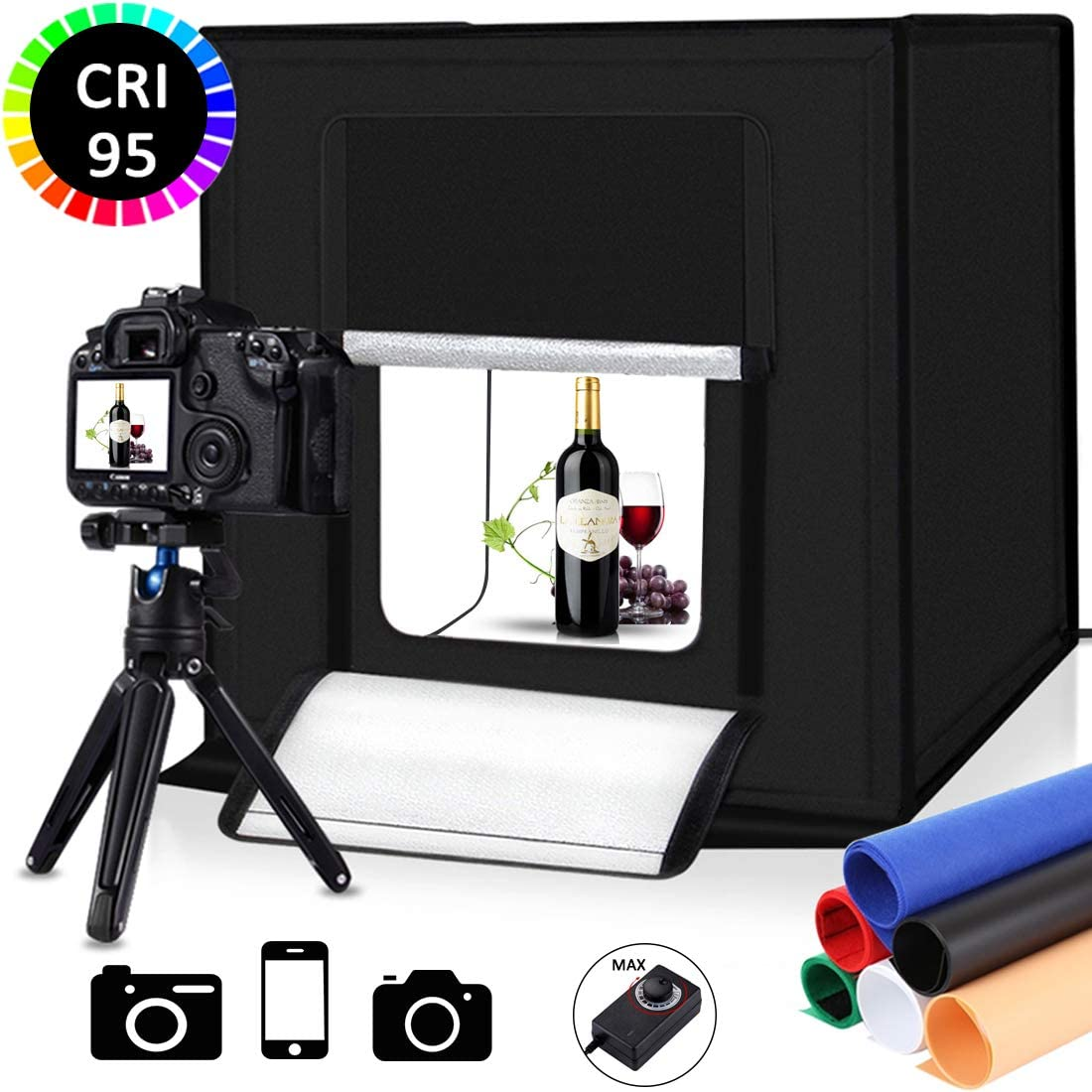 Photo Studio Light Box Kit Portable Photo Shooting Tent with White Light Warm Light and 6 Color Background 12inch x 12inch Photography Adjustable Light Box with 80pcs SMD LED Beads