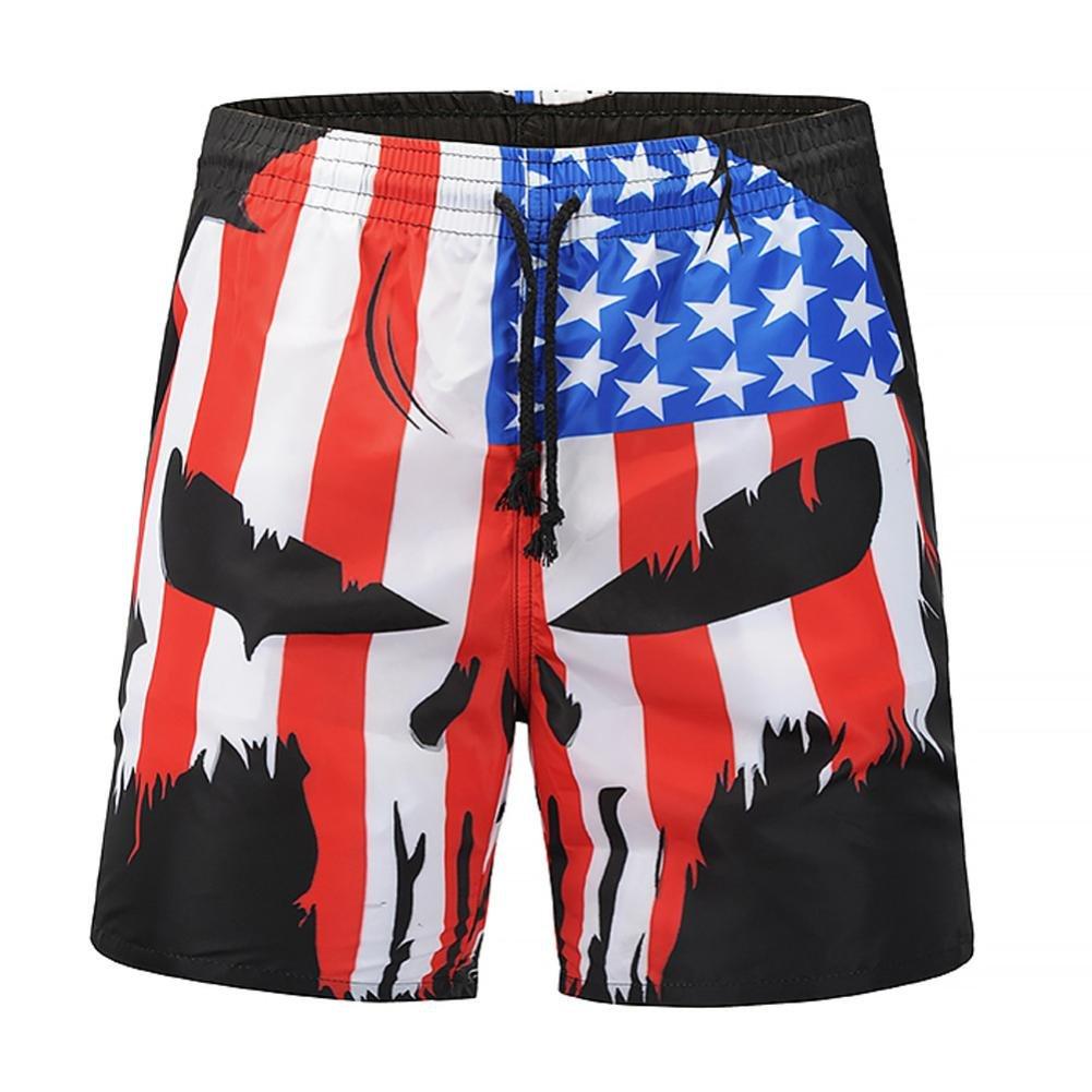 Mikkar Mens Casual Shorts Skull Flag Printed Swim Trunks Beachwear Short Pants