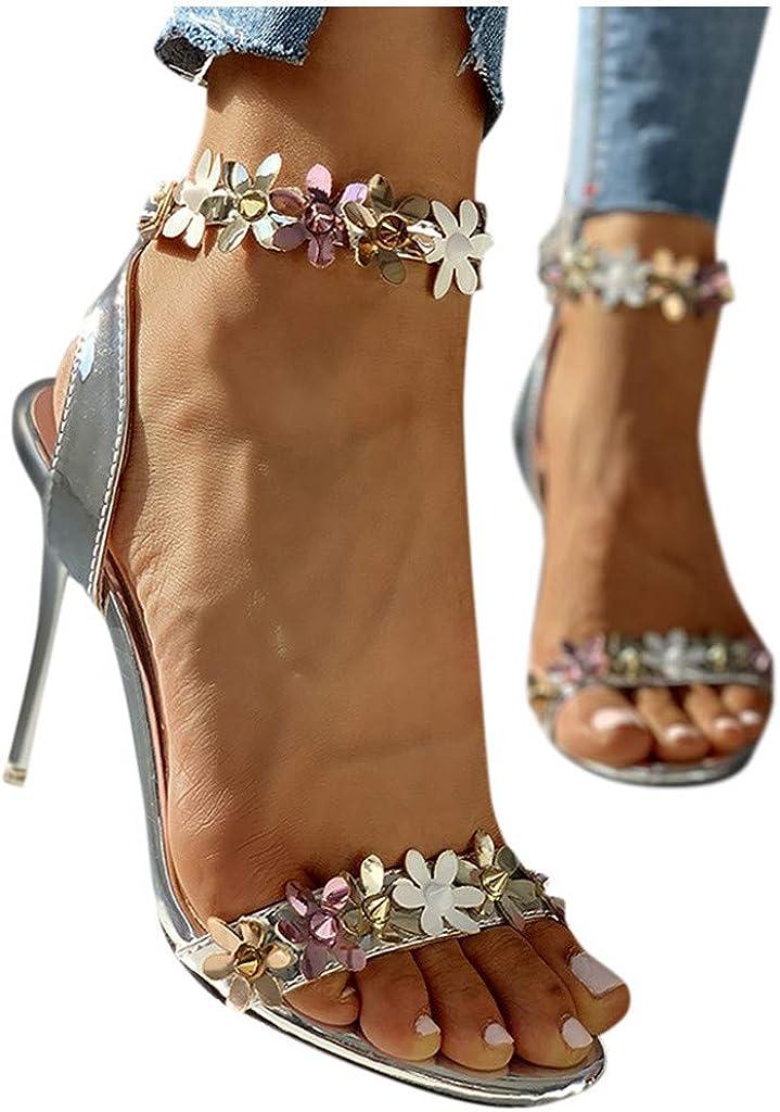Xinantime Womens Summer Flower High Heels Ankle Buckle Stilettos Open-Toe Sandals Shoes