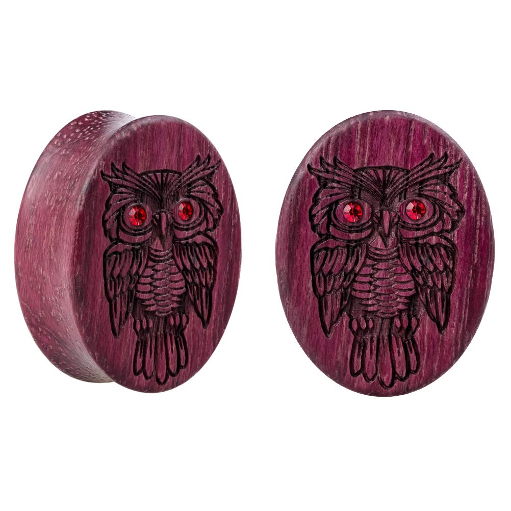 HONGTU Original Wood Peltogyne Ear Gauge Plug Oval Earring Strecher Jewelry Owl
