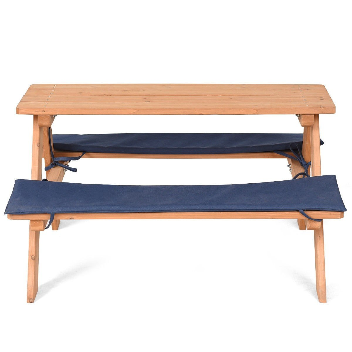LordBee New Kids Wooden Beach Play Picnic Table Bench Set with Cushion Wood Color