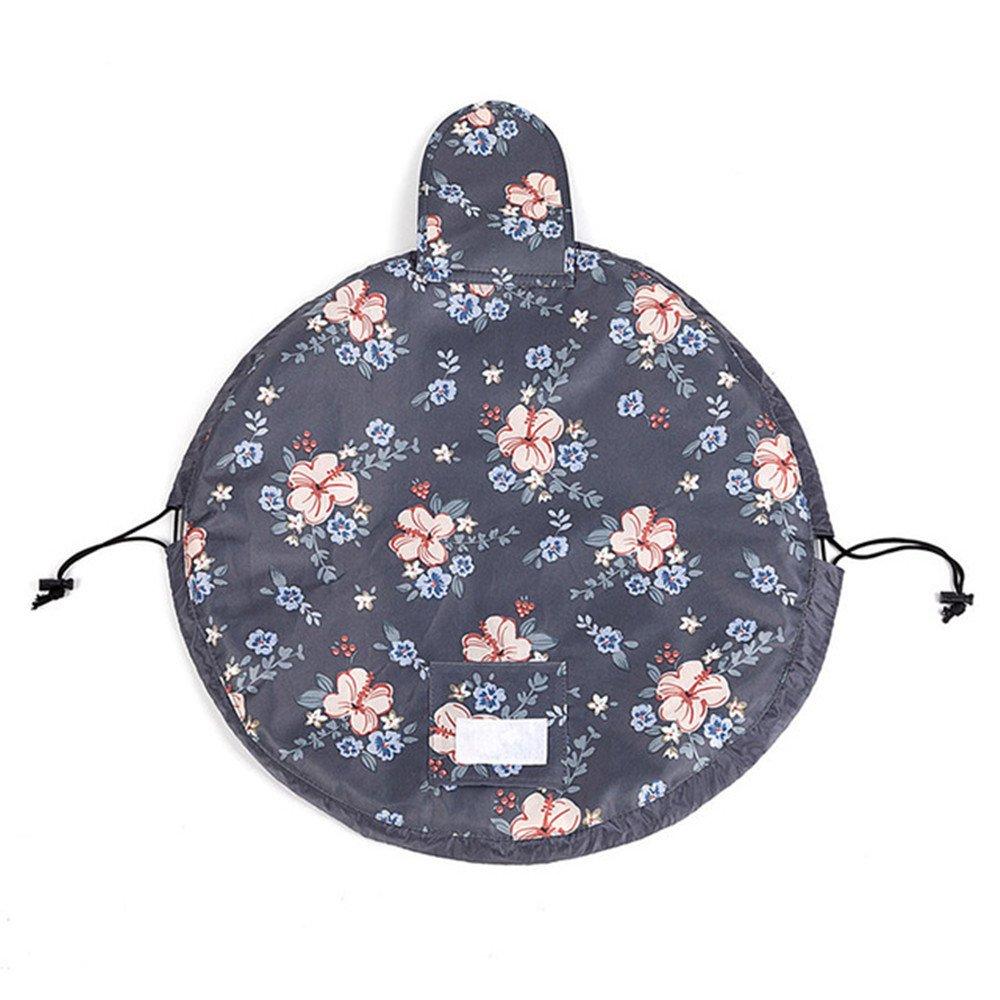 Fashion Cosmetic Bag Large Capacity Lazy Makeup Waterproof Toiletry Bag Multifunction Storage Portable Quick Pack Travel Bag (Dark Grey Flowers) by VOJUAN (Image #4)