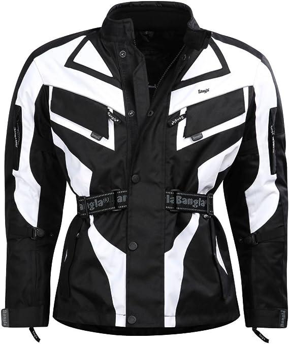 Ledershop Online Bangla 1535 Kinder Motorradjacke Touren Jacke Cordura 600 Textil Schwarz Weiss 128 140 152 164 Sport Freizeit