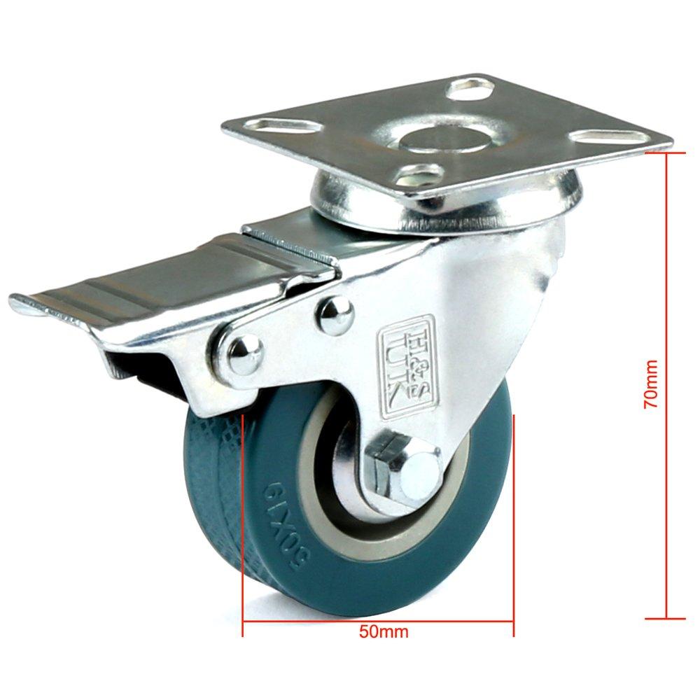 H&S - Ruedas giratorias de goma para muebles, 4 ruedas, 50 mm: Amazon.es: Bricolaje y herramientas
