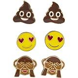 Lux Accessories Goldtone Poop Heart Eyes Monkey Hiding Eyes Earring Set (3pcs)