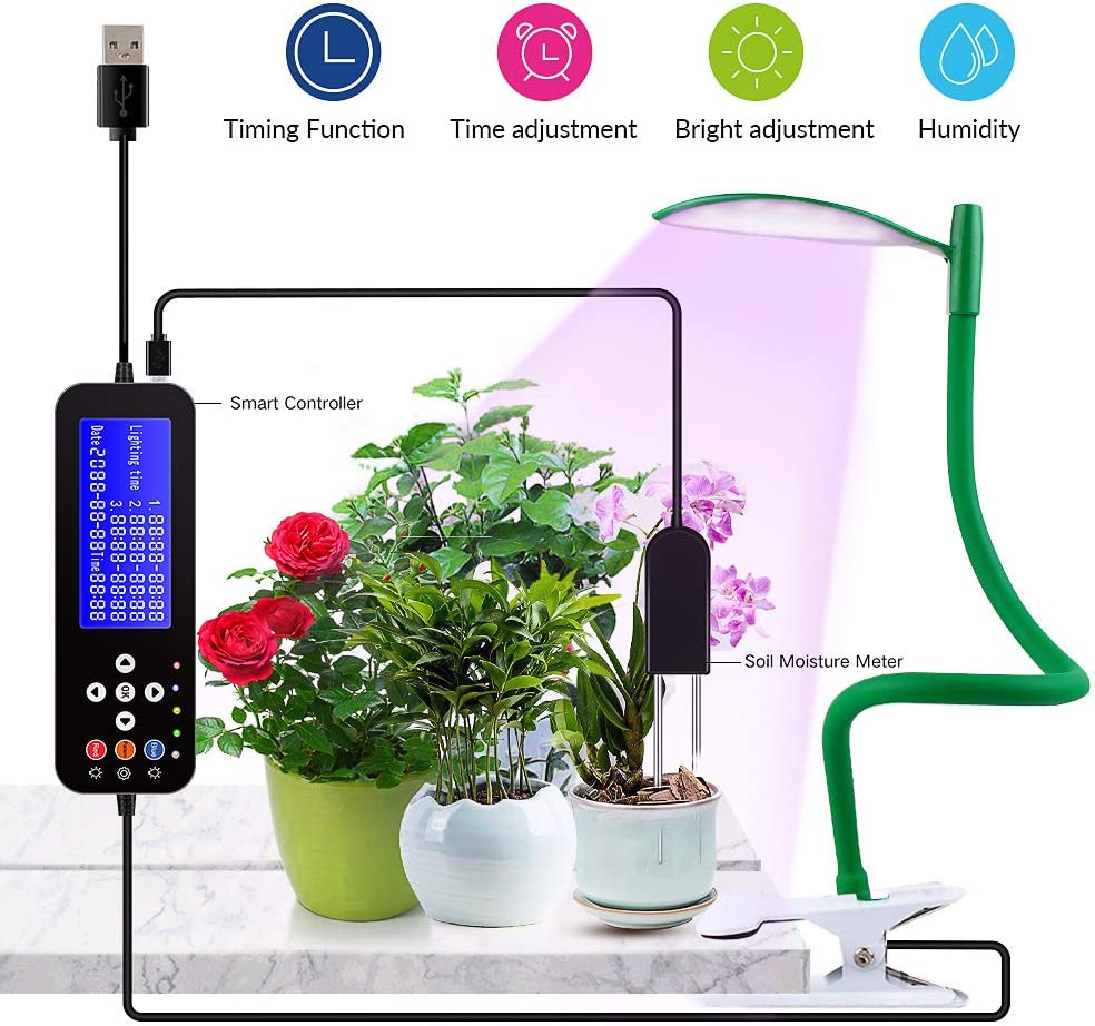 Grow Lights for Indoor Plants Soil Moisture Meter Smart Controller Programmable Timer AutoTurn On Off FunctionFull Spectrum Adjustable Gooseneck USB Connector 5 Dimmable Levels 3 Switch Modes LED